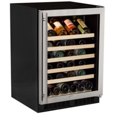 "Marvel ML24WSG0RS - 24"" Single Zone Wine Refrigerator, Stainless Glass Door, Right Hinge"