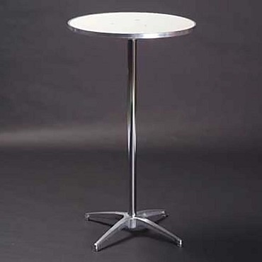 "Maywood MF30RDPED3042 - Pedestal Table, 30"" round top, white vinyl top, adjustable"
