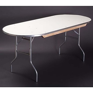 Maywood MF3072RACE - Folding Table, race track, white vinyl top, 72 x 30 x 30 inch