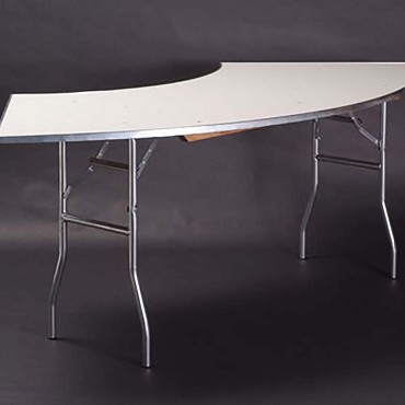 Maywood MF4836CR4 - Folding Table, crescent, white vinyl top, 48 x 36 x 30 inch