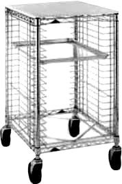 "Metro RE3P - Pan Rack, mobile, 38"" counter height, open sides, with slides fo"