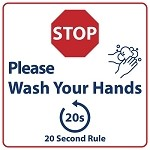 "SIRSWASHHAND1EA - 7.5"" Tall x 7.5"" Wide Please Wash Hands Sign"