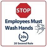 "SIRSEMPWASHHAND1EA  - 7.5"" Tall x 7.5"" Wide EMPLOYEE Must Wash Hands Sign"