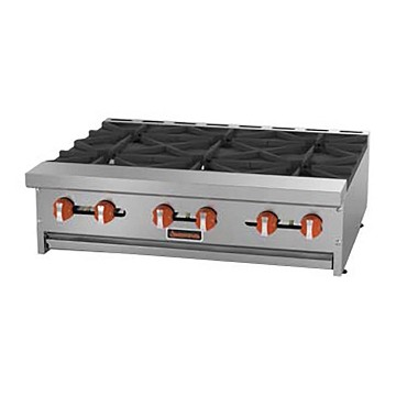 "Sierra SRHP-6-36 - Hotplate, natural gas, countertop, 36""W, (6) open burners"