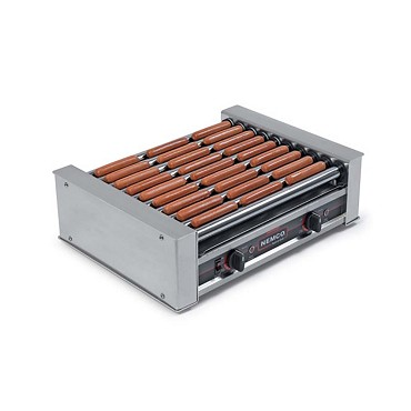 "Nemco 8010-220 - Hot Dog Grill, 6 chrome rollers, 16"" long"