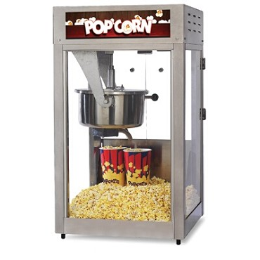 Global Solutions GS1516 - Popcorn Popper, 16 oz., (320) servings/hour, tempered glass