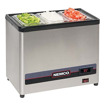 Nemco 9020-3 - Cold Condiment Chiller, (3) 1/9 stainless steel pans with clear lids