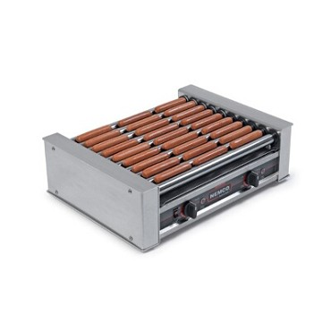 Nemco 8045SXW-220 - Wide Hot Dog Grill, 10 GripsIt coated rollers