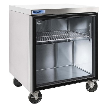 "Nor-Lake NLURG27A-014 -  Undercounter Refrigerator, One-Section, 27-1/2"" W, Glass Door"