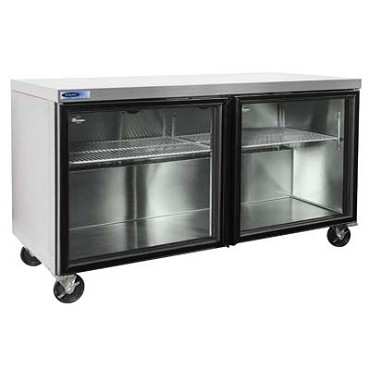 "Nor-Lake NLURG60A-015 -  Undercounter Refrigerator, Two-Section, 60"" W, Glass Doors"