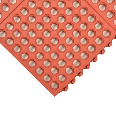 "Notrax T56S0033RD - Heavy-Duty Anti-Fatigue Mat System, 3' x 3', 3/4"" thick, red"