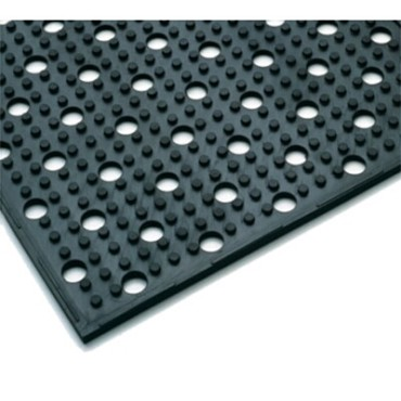 "Notrax T23S0028BL - Reversible Drainage Floor Mat, 2' x 8' sheet, 3/8"" thick, rubber, black"