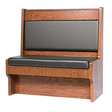 "Oak Street SHEP-3042-SGL-VSWB - Shepard Booth, 30"" L x 42""H, single, wood back, 2"" thick upholstered seat, closed"