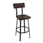 Oak Street BM-6058 - Outlander Barstool, solid beech seat and back in walnut stain