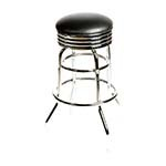 Oak Street SL2131-HD-BLK - Swivel Bar Stool, backless, upholstered seat, black vinyl