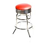 Oak Street SL2131-HD-RED - Swivel Bar Stool, backless, upholstered seat, red vinyl