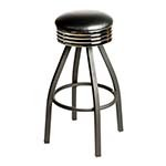 Oak Street SL2137-HD-BLK - Swivel Bar Stool, backless, upholstered seat, black vinyl