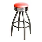 Oak Street SL2137-HD-RED - Swivel Bar Stool, backless, upholstered seat, red vinyl