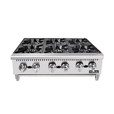 "Padela PCHP-36-6 - Hotplate, counter top, natural gas, 36.0""W x 29.1""D x 13.1""H, (6) burners, cast iron grates"