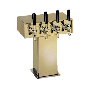 "Perlick 4006-3BTF2 - Tee Draft Beer Tower, 9-1/8""W x 15-9/16""H, (3) brass faucets"
