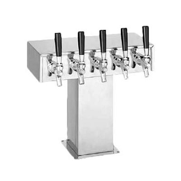 "Perlick 4006-6BPC2 - Tee Draft Beer Tower, 17-3/8""W x 15-9/16""H, (6) chrome faucets"