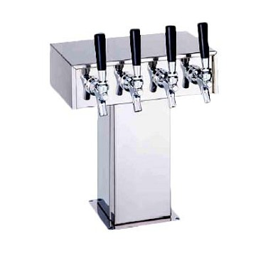 "Perlick 4006-3BPC2 - Tee Draft Beer Tower, 9-1/8""W x 15-9/16""H, (3) chrome faucets"
