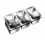 Vollrath 12103-1 - Undermount Weld-In Sink w/Triple Bowl, 14 x 12 x 9-3/4 in.