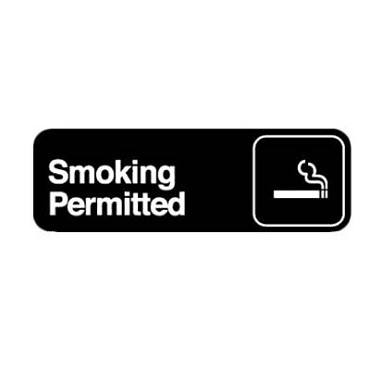 "Royal ROY 394514 - Sign, 3"" x 9"", ""Smoking Permitted"", black, white letters"