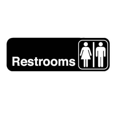 "Royal ROY 394517 - Sign, 3"" x 9"", ""Restrooms"", black, white letters"