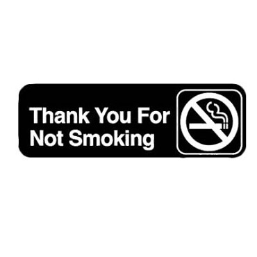 "Royal ROY 394521 - Sign, 3"" x 9"", ""Thank You For Not Smoking"", black, white letters"
