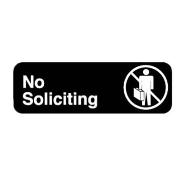 "Royal ROY 394527 - Sign, 3"" x 9"", ""No Soliciting"", black, white letters"