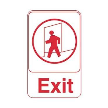 "Royal ROY 695609 - Sign, 6"" x 9"", ""Exit"", white, red letters"