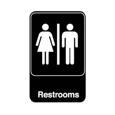 "Royal ROY 695617 - Sign, 6"" x 9"", ""Restrooms"", black, white letters"
