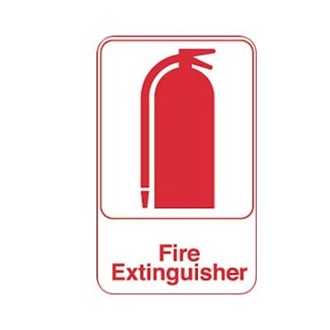 "Royal ROY 695618 - Sign, 6"" x 9"", ""Fire Extinguisher"", white, red letters"