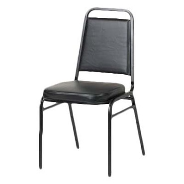 Royal ROY 718 B - Stack Chair, Square Back, Black Vinyl, (Case of 4)