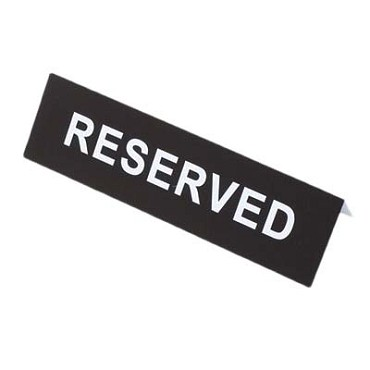 "Royal ROY PRS - Sign, ""reserved"", 6"" x 2"", plastic, (Case of 12)"