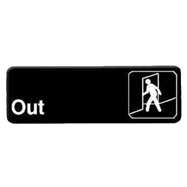 "Royal ROY 394510 - Sign, 3"" x 9"", ""Out"", black, white letters"