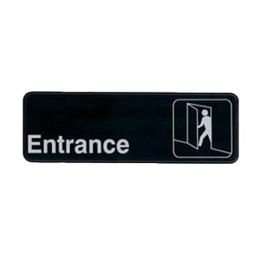 "Royal ROY 394512 - Sign, 3"" x 9"", ""Entrance"", black, white letters"