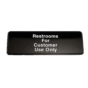 "Royal ROY 394525 - Sign, 3"" x 9"", ""Restrooms For Customers"", black, white letters"