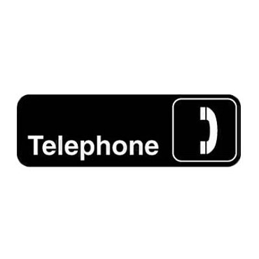 "Royal ROY 394540 - Sign, 3"" x 9"", ""Telephone"", black, white letters"