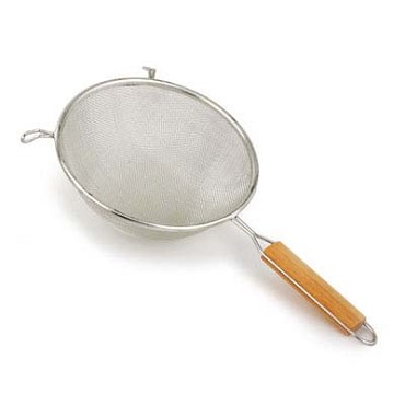 "Royal ROY DMS 6 - Strainer, 6"" dia. bowl, double tinned, pan hooks, wood handle"