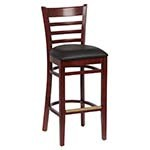 Royal ROY 8002 W BLK - Ladder Back Bar Stool, Black Vinyl