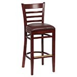 Royal ROY 8002 W BRN - Ladder Back Bar Stool, Brown Vinyl