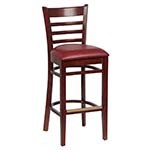 Royal ROY 8002 W CRM - Ladder Back Bar Stool, Crimson Vinyl