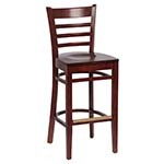 Royal ROY 8002 W - Ladder Back Bar Stool with Walnut Finish