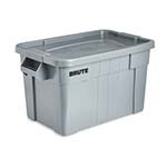 Rubbermaid FG9S3100GRAY - Tote box with lid, 20 gallon capacity. This lid snaps on tightly