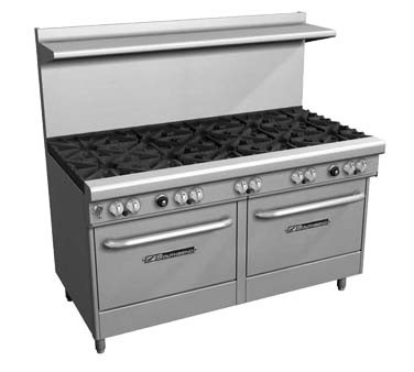 "Southbend 4604AA-5R - Restaurant Range, gas, 60"", (9) burners, (2) convection ovens"