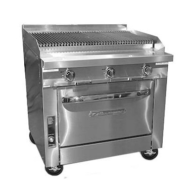 "Southbend P36C-CCC - Heavy Duty Range, gas, 36"", charbroiler, (1) cabinet base"