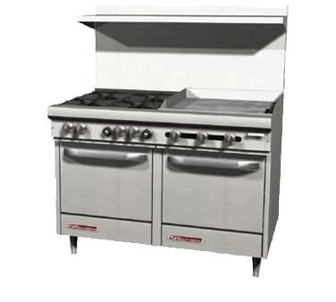 "Southbend S48AC-4G - Restaurant Range, gas, 48"", griddle, (1) convection oven & (1) cabinet base"
