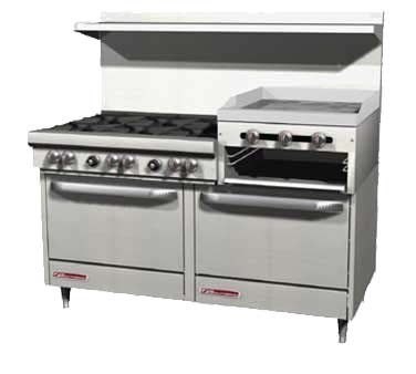 "Southbend 4607AD-2RR - Restaurant Range, gas, 60"", (4) burners, (1) raised griddle/broiler"
